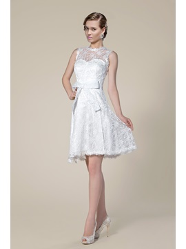 Sheer Lace Jewel Neck Bowknot Short Wedding Dress & Wedding Dresses from china