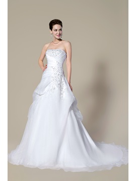 Strapless Beading Lace-Up Court Train A-Line Floor-Length Wedding Dress & cheap Wedding Dresses