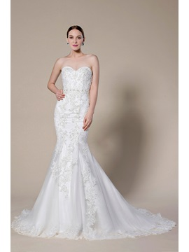 Simple Style Strapless Sweetheart Applique Zipper-Up Court Train Trumpet Wedding Dress & colorful Wedding Dresses