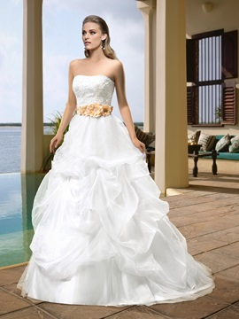 Sumptuous Strapless Appliques Beading Flowers Court Train Pick-ups Wedding Dress & unusual Wedding Dresses