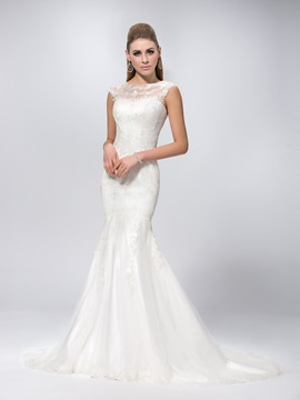 Sexy Scoop Neck Chapel Train Mermaid Lace Wedding Dress & Wedding Dresses online