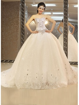 Luxury Beadings Chapel Train Ball Gown Wedding Dress & colored Wedding Dresses