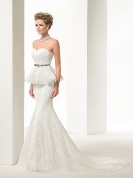 Charming Lace-Up Mermaid Tiered Floor-Length Lace Wedding Dress & Wedding Dresses 2012