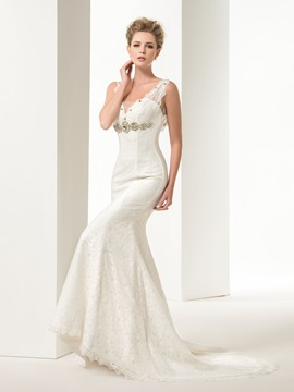 Graceful Mermaid/Trumpet Lace Crystal Straps Court Train Floor-Length Lace-up Wedding Dress & simple Wedding Dresses