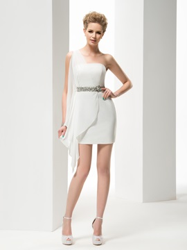 Faddish Tippet Strapless A-line Short/Mini Crystal Wedding Dress & modern Wedding Dresses