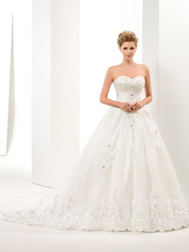 Great Applique A Line Floor Length Sweetheart Lace Up Wedding Dress & Wedding Dresses from china