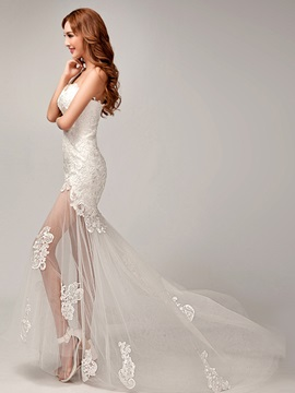 Charming One Shoulder Appliques Lace Beach Wedding Dress & Wedding Dresses from china