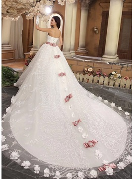 Luxury Beaded Sweetheart Bowknot Lace Cathedral Wedding Dress & Wedding Dresses under 300