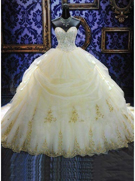 Deluxe Royal Cathedral Beaded Sweetheart Ball Gown Wedding Dress & Wedding Dresses under 100