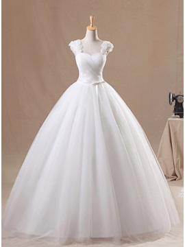 Sweet Floral Cap Sleeve Sweetheart White Tulle Ball Gown Wedding Dress & Wedding Dresses under 500