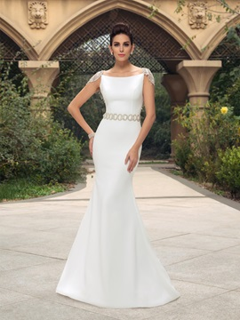 Elegant Cap Sleeves Backless Mermaid Long Wedding Dress & Wedding Dresses under 500