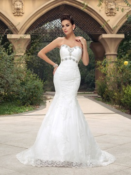 Rhinestone Sweetheart Mermaid Lace Court Train Wedding Dress & amazing Wedding Dresses