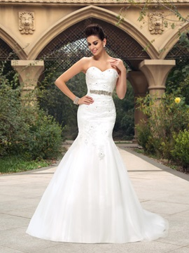 Dazzling Sweetheart Beaded Lace Appliques Mermaid Wedding Dress & formal Wedding Dresses
