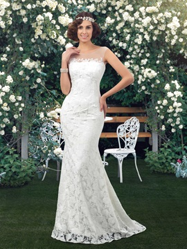 Dazzling Sheer Jewel Neck Ivory Mermaid Lace Wedding Dress & Wedding Dresses for less