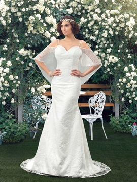 Dazzling Spaghetti Straps Sweetheart Bat Sleeve Mermaid Lace Wedding Dress & inexpensive Wedding Dresses