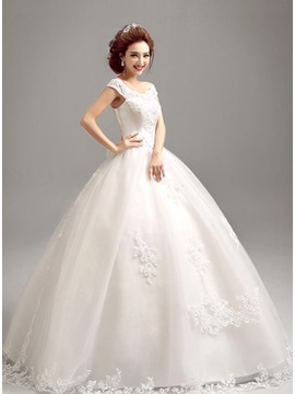 Dazzling Off the Shoulder Short Sleeve Ball Gown Wedding Dress & Wedding Dresses on sale