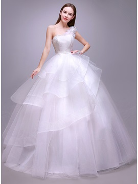 Simple Style Floral One Shoulder Floor Length White Ball Gown Wedding Dress & Wedding Dresses under 300