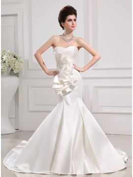 Sweetheart Ruched Satin Ivory Mermaid Wedding Dress & petite Wedding Dresses