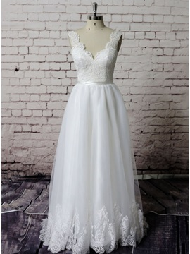 Simple Floor Length A-Line Ivory Lace Wedding Dress & Wedding Dresses from china