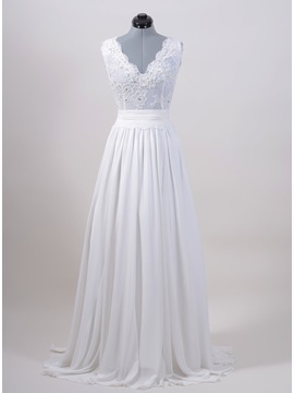 Eye-catching Beaded Lace Appliques V-Neck White Plus Size Wedding Dress & colorful Wedding Dresses