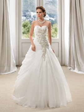 Eye-catching Sweetheart Floral Beaded Floor Length A-Line Wedding Dress & formal Wedding Dresses