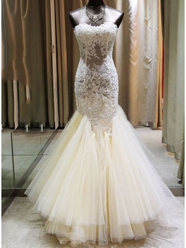 Sensual Sweetheart Sheer Lace Appliques Floor Length Mermaid Wedding Dress & unique Wedding Dresses