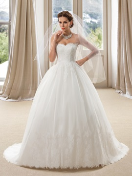 Strapless Sweetheart Lace Ball Gown Wedding Dress & Wedding Dresses for less