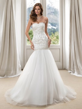 Dazzling Sweetheart Embroidered Trumpet Wedding Dress & attractive Wedding Dresses