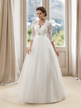 Eye-catching V-Neck Lace Long Sleeve A-Line Wedding Dress & Wedding Dresses for less