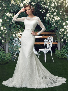 Eye-catching Scoop Neck Long Sleeve Lace Mermaid Wedding Dress & affordable Wedding Dresses
