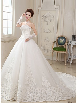 Stunning Strapless Ruched Beaded Lace Appliques A-Line Wedding Dress & Wedding Dresses for less