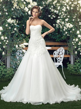 Eye-catching Strapless Lace A-Line Court Wedding Dress & formal Wedding Dresses