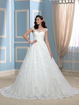 High Quality Appliques Lace A-Line Court Wedding Dress & modern Wedding Dresses