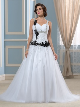 Black Bowknot Lace Sequins A-Line Court Wedding Dress & Wedding Dresses under 500