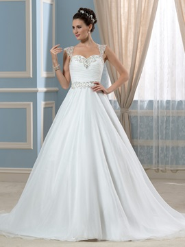 Straps A-Line Beaded Pleats Court Train Wedding Dress & Wedding Dresses 2012