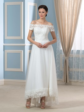 Off-The-Shoulder Tulle Lace A-Line Asymmetry Ankle-Length Wedding Dress & cheap Wedding Dresses