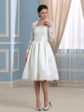 Strapless Knee-Length Short Wedding Dress with Lace Long Sleeve Jacket & Wedding Dresses 2012
