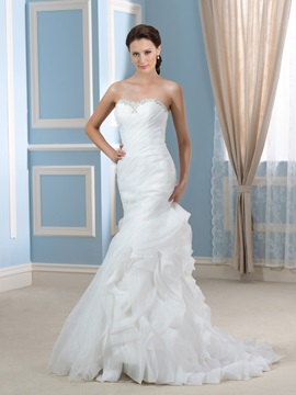 Sexy Beaded Sweetheart Ruched Bodice Ruffles Organza Mermaid Wedding Dress & Wedding Dresses online