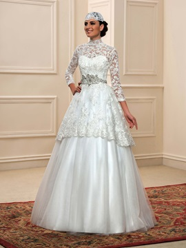 Modest Sheer Lace High Neck Indian Muslim Wedding Dress with Hijab & inexpensive Wedding Dresses