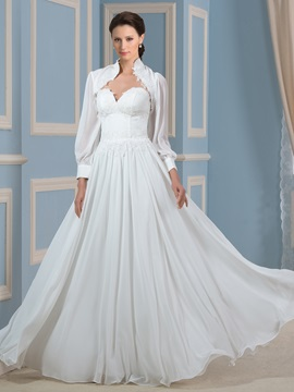 Lace Appliques Sweetheart A-Line Beach Wedding Dress with Long Sleeve Jacket & modest Wedding Dresses