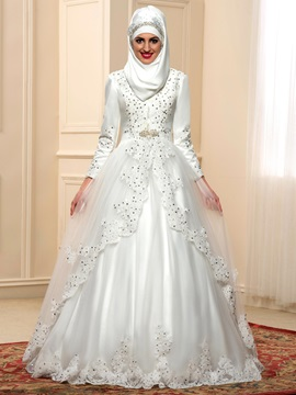 Modest Beaded Lace High Neck Long Sleeve Arabic Wedding Dress & attractive Wedding Dresses