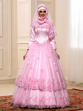 Floral Appliques High Neck Long Sleeve Arabic Wedding Dress & Wedding Dresses under 100