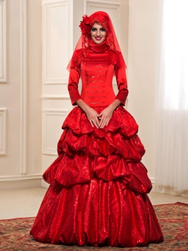 High Neck Sequined Long Sleeve Tiered Puffball Pick-ups Red Muslim Wedding Dress & colored Wedding Dresses