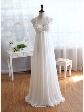 Square Neck Empire Waist Maternity Beach Wedding Dress & Wedding Dresses under 100