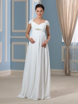 Cap Sleeves Beading Empire Waist Chiffon Pregnant Wedding Dress & modest Wedding Dresses