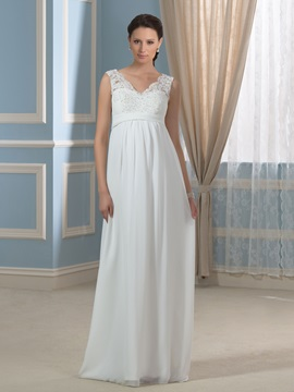Casual Chiffon Empire Waist V-Neck Appliques Lace Maternity Wedding Dress & formal Wedding Dresses