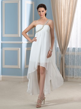 Asymmetry One-Shoulder Beading Chiffon Short Beach Pregnant Wedding Dress & Wedding Dresses under 300