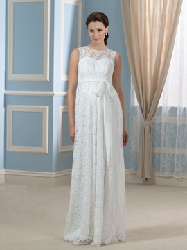 Scoop Neckline Empire Waist Lace Pregnant Floor-Length Wedding Dress & vintage style Wedding Dresses