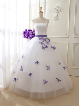 Floor Length A-Line Beaded Strapless Butterfly Wedding Dress & Wedding Dresses for sale