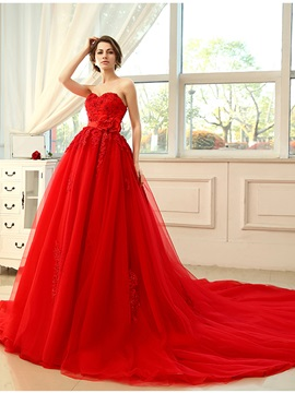 Floor Length A-Line Strapless Sweetheart Lace Appliques Red Wedding Dress & Wedding Dresses from china